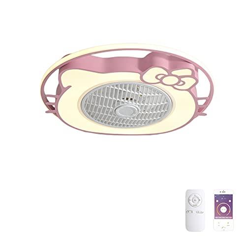 VOMI Cuarto de Los Niños Ventilador de Techo con Lámpara 36W LED Dibujos Animados Luz del Ventilador Regulable con Mando a Distancia Silencio Ventilador para Cuarto Sala Comedor, Rosa