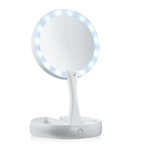 Bluelover LED Maquillage Miroir Électrique Double Side 360 Degree Pliage USB Éclairé Miroirs De Vanité