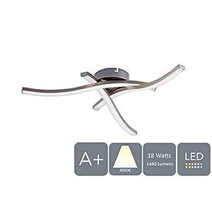HARPER LIVING 18W LED Cieling Light, Satin Nickel, 1440 Lumens IP20, Ø: 43cm, H:8.5cm