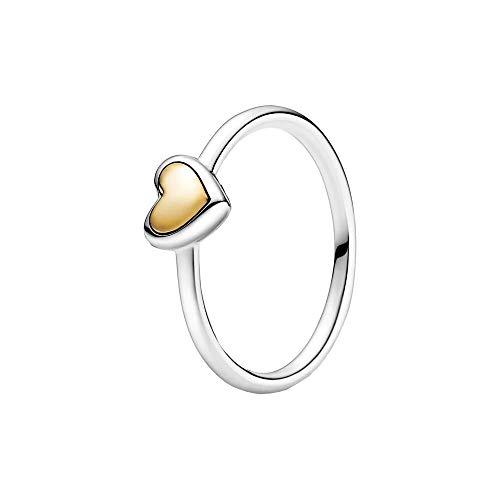 Pandora Anillo para mujer con forma de corazón de oro 199396C00, Metal no noble., Sin piedras preciosas,