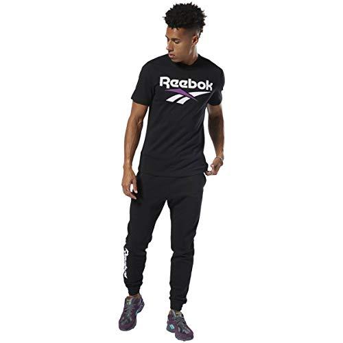 Reebok Camiseta clásica Vector de Manga Corta para Hombre, Hombre, Manga Corta, BI0323, Negro/Blanco, S