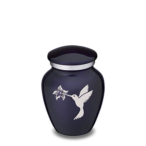 GetUrns Keepsake Mini Hummingbird Embrace Cremation Urn for Sharing (Cobalt Blue)