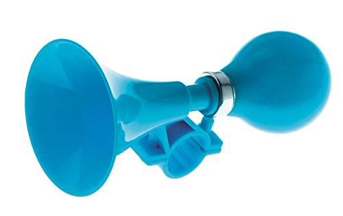 ONOGAL, 3998, campanello a pressione a forma di trombetta, clacson, per bambine e bambini e per adulti, da fissare al manubrio della bicicletta, colore blu