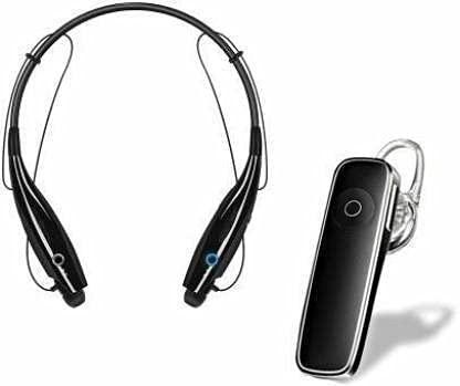Royal Range HBS-730 Neckband Wireless Bluetooth Waterproof Headset with K1 Single Ear Wireless Bluetooth Earphone Headphone for Calling & Music with mic