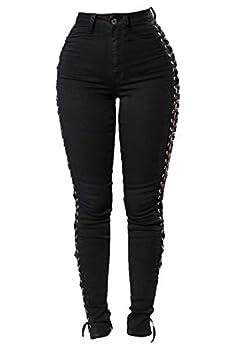 Andongnywell Women s Sexy BlaXK Satin Side Lacing Solid Pants High Waist Bandage Slim ThiXK Lace Up Leggings  Black,Medium