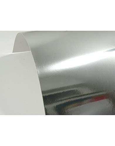 10 Blatt Silber Spiegelkarton einseitig bedruckt DIN A4 210x297 mm 225g Mirror Silver Bastel-Karton mit Spiegel-Glanz Silber Dekor-Karton in Silber Metall-Papier zum Selbstgestalten Basteln Dekorieren