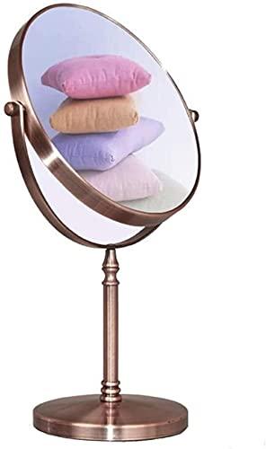 Espejos de Mesa a Prueba de explosiones -gingq Metal Espejo de Doble Cara Retro Escritorio Espejo Decorativo Rojo Cobre Redondo Espejo Rotate Alto definición Espejo Espejo Impermeable Espejo espe