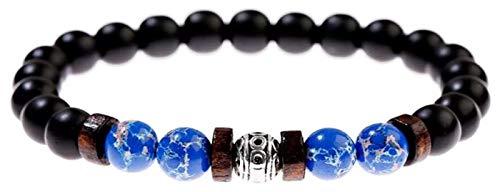 Pulsera de piedra, mujer, 7 chakra 8mm de 8mm de color azul natural de las cuentas de piedra del brazalete elástico de la amistad joyería de la amistad de la joyería de la yoga de oración de la joyerí
