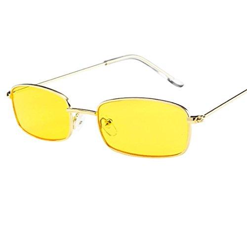 EUZeo,Vintage Glasses Square Shades Small Rectangular Frame UV400 Sunglasses for Women Man Ladies (D)