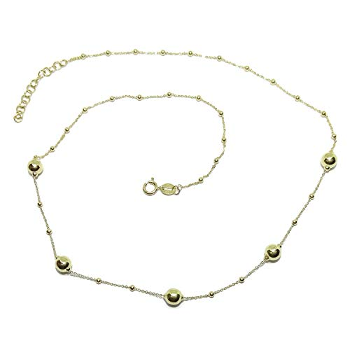 Women's 18k Yellow Gold Chain Necklace with Forged Chain and Shiny Gold Balls of 2 Sizes, 45 cm Long with Spring Clasp, 2.8 g 18k Gold