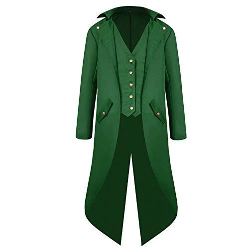 Z&Y Glaa Herren Steampunk Vintage Gothic Jacke warme Frack Herrenjacke Knöpfe Langer Mantel Cosplay Kostüm Graben Bomberjacke Cape mit Weste Jacke Punk Langarm Gothic Retro Mantel Uniform