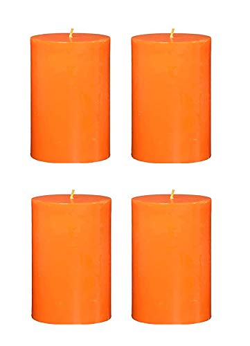 Spiritual World Home Decorative Highly Fragranced Peach Scented Aromatic Pillar Candles Long Burning Aromatherapy Christmas Candles Gift Set (Pack of 4) (2.5' x 2' Diameter)