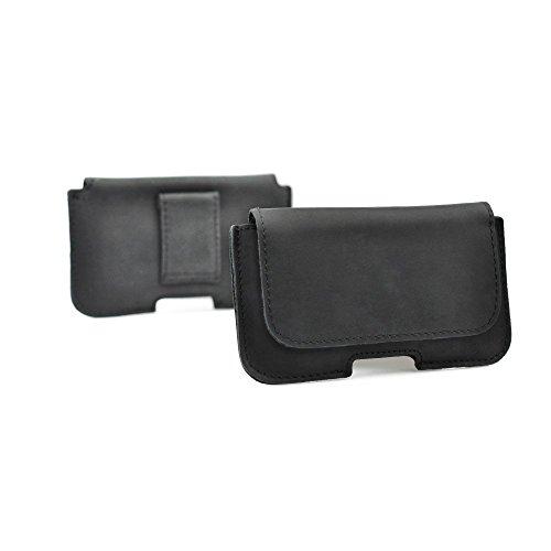 Starbarry Premium Echt Leder Gürteltasche Classic in Anthrazit für LG V40 ThinkQ / G7 ThinkQ / G7 Fit Quertasche Ledertasche Trageclip Schutz-Hülle Handy-Tasche Gürtelschlaufe