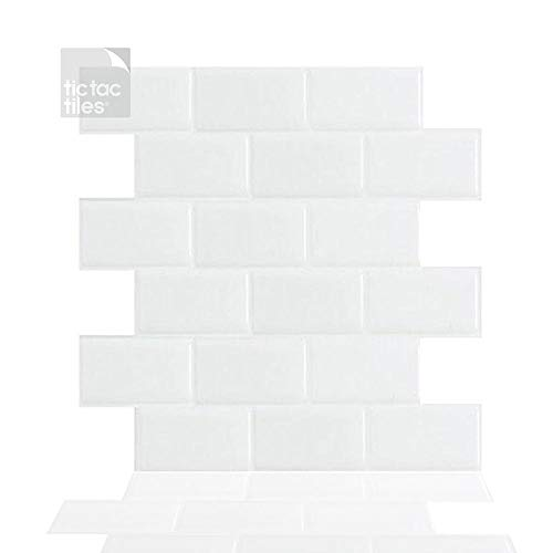 """Tic Tac Tiles 5-Sheets 12""""x 12"""" Peel and Stick Self Adhesive Removable Stick On Kitchen Backsplash Bathroom 3D Wall Sticker Wallpaper Tiles in Subway White"""