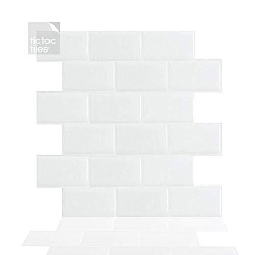 Tic Tac Tiles 30 cm x 30 cm 5 Láminas, 3D Azulejos Adhesivo Azulejos de la pared para Cocina y Baño - diseño de metro (Blanco Puro)