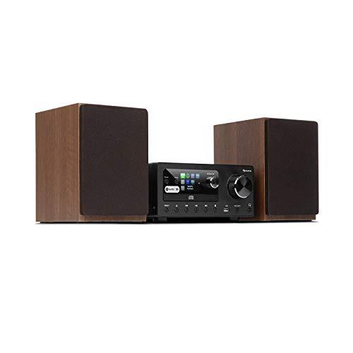 auna Connect System Kompaktanlage - 80W Stereoanlage, Mini HiFi Anlage mit 2 x 20W RMS Lautsprecher, Internet/DAB+/FM Radio, CD, Bluetooth, Spotify, USB, App-Steuerung (UNDOK), Schwarz
