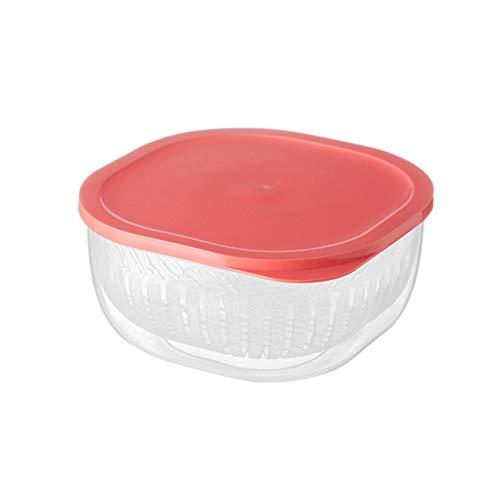 Caja de almacenamiento de alimentos, frutas y verduras, tamaño grande, doble capa, contenedor de agua de drenaje de PP para nevera