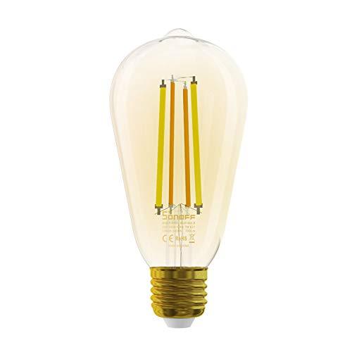 OWSOO 1PCS Bombilla de Filamento LED Wi-Fi Inteligente E27, Luz de Bombilla Regulable Color Cambiable, Sincronización, Control Remoto de Android/iOS App, Compatible con Amazon Alexa y Google Home