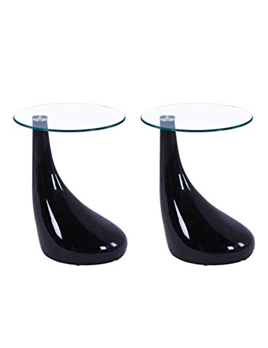 High Gloss Coffee Side Tables Set of 2 Modern Living Room Sofa End Glass Tables Small Round Tables for Office, Black
