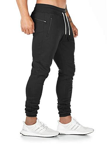 Breampot Herren Jogginghose Sporthose Baumwolle Fitness Slim Fit Trainingshose Freizeithose Joggers Sweathose Streetwear (Schwarz, Medium)