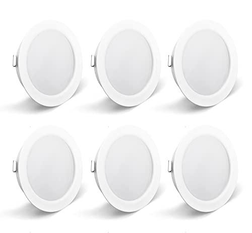 OPPER 6er Set LED Möbelleuchte 230V,3.5W LED IP44 G4 15mm Flache Möbel Einbaustrahler,3000K Warmweiß,Küchenhaube Leuchte,Badleuchte Einbauspot(Weiß)