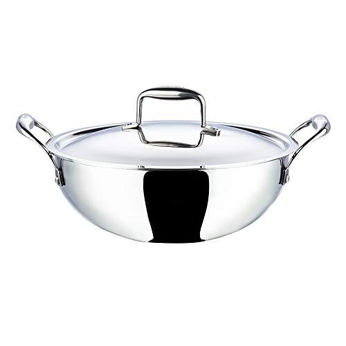 Vinod Stainless Steel Platinum Extra Deep Kadai, 24cm, 3.3 Liter, Silver
