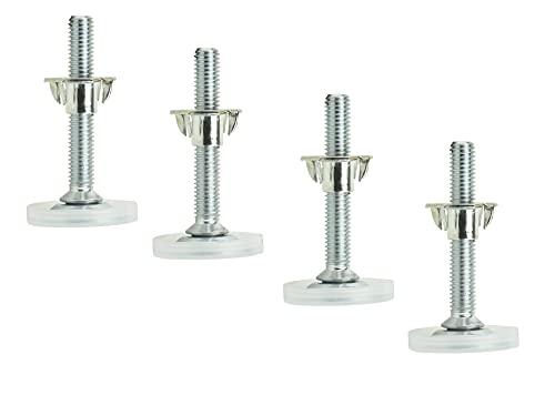 Prima-Online 4 Set Stellteller Stellfuß Möbelfuß Sockel versteller M8 Schraubfüße f.Sockel Möbel mit Einschlagmuttern (M8x61 ⌀Fuß 33mm)