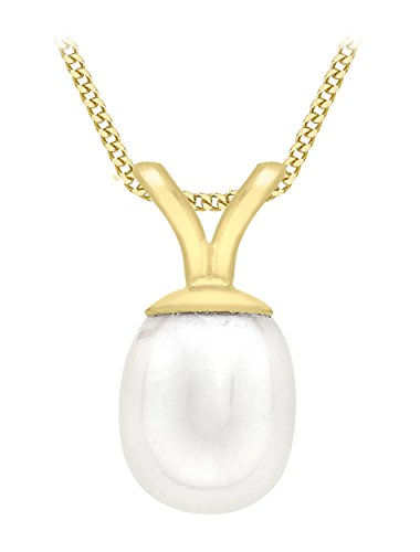 Carissima Gold 9ct Yellow Gold Pearl Drop Pendant on Curb Chain Necklace of 46cm/18'