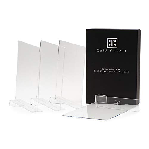 Casa Curate Acrylic Shelf Divider 4 Pack   Closet Organizer Separator Suitable for cabinets, bookcases, Shoe Racks in Bedroom, Kitchen, Living Room, Office   Easy to use Slide on Design