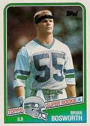 1988 Topps Brian Bosworth Rookie Football Card #144 - Shipped In Protective Display Case!