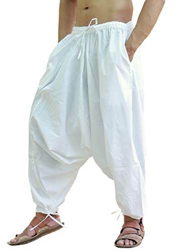 Sarjana Handicrafts Uomo Donna Cotone Harem Yoga Baggy Genie Hippie Pants (Bianca, Dimensione Libera)