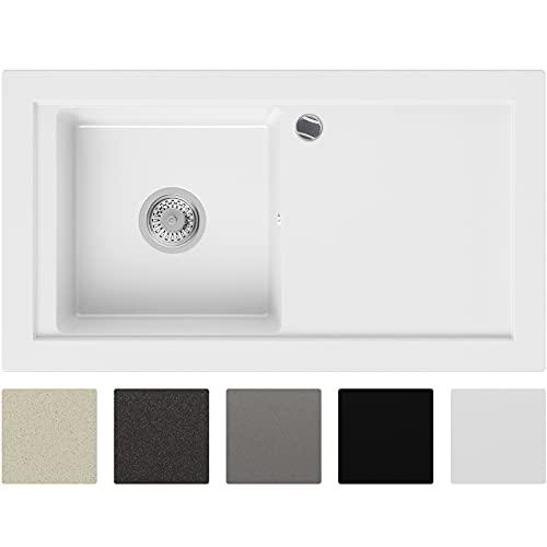 Lavabo de Cuisine en Granit Blanc, 89 x 49,5 cm, Évier 1 bac + Siphon Automatique, 5 couleurs et option antibactérienne, Évier à Encastrer de Primagran
