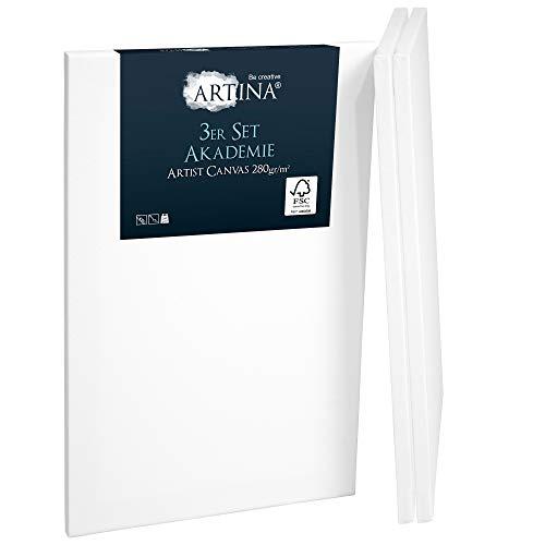 Artina Akademie 3er Set Leinwand auf FSC® Keilrahmen 40x50cm 100% Baumwolle Leinwand weiß vorgrundiert Formstabil & Verzugsfrei Leinwand Set 280g/m²