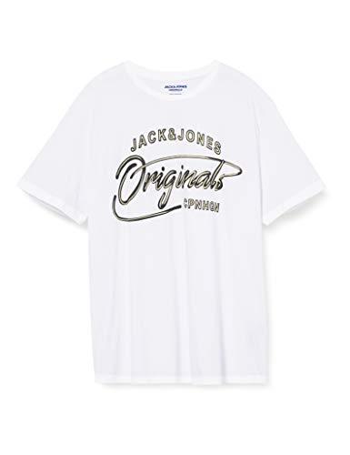 JACK & JONES Herren JORPEX Tee SS Crew Neck PS T-Shirt, White, 6XL