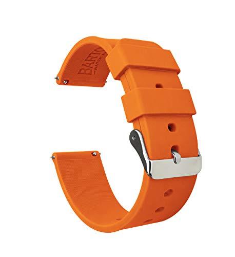 BARTON WATCH BANDS Silikon Schnellverschluß.- Wählen Sie Farbe & Breite (16mm, 18mm, 20mm or 22mm) Kürbis Gelb 20mm Band