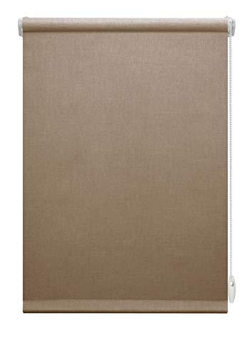 GARDINIA EASYFIX Rollo Napoli zum Klemmen oder Kleben, Tageslicht-Rollo, Blickdicht, Alle Montage-Teile inklusive, Braun, 75 x 150 cm (BxH)