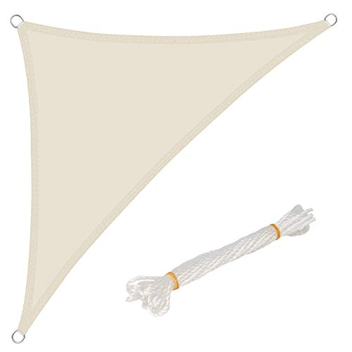 WOLTU Sonnensegel Dreieck 3x3x4,25m Creme wasserabweisend Sonnenschutz Polyester Windschutz mit UV Schutz für Garten Terrasse Camping