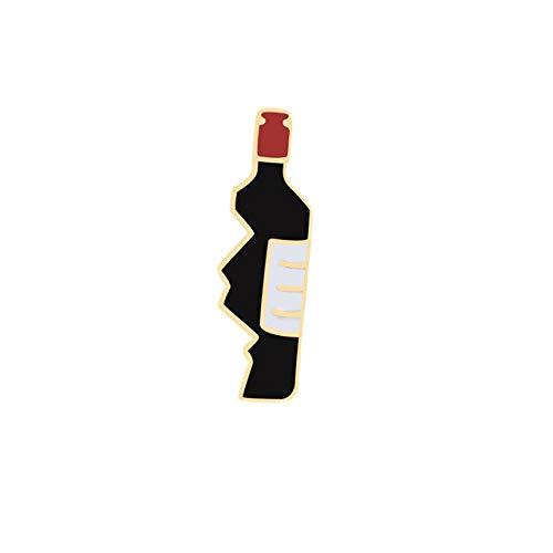 Personalidad Broches de moda creativos Joyas Medio corazón Pizza Mejores mujeres Alfileres de esmalte lindo Insignia Pareja Ropa Sombrero Decoración-Botella de vino