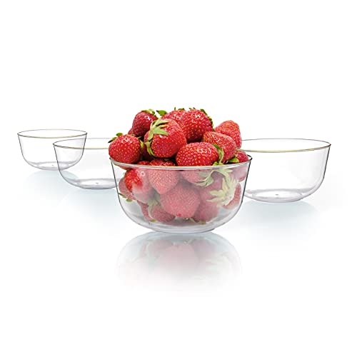 Trendables 24 Ounce Set Of 10 Clear Gold Rimmed Fancy Disposable Serving Bowls For Snacks Is The Perfect Plastic Ice Cream Bowls Plastic Salad Bowls Plastic Candy Bowl Clear Plastic Bowls