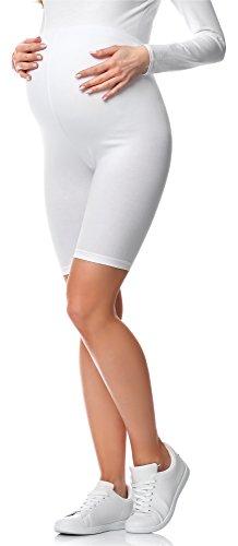 Be Mammy Kurze Umstandsleggings aus Baumwolle BE20-228 (Weiß, L)