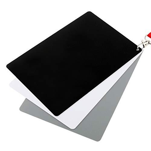 PANPAN Accessori Fotocamera di qualità, 3 in 1 Nero Bianco Grigio Carta/Scheda Gray Digital con la Cinghia, Funziona con Qualsiasi Fotocamera Digitale, modulo File: Raw e JPEG, Dimension