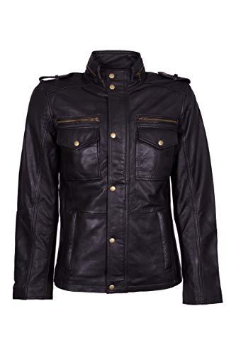 lines by cris d. fedd Echte Herren Lederjacke aus Schafsleder, Klassische Leather Jacket (XXXXL, schwarz)