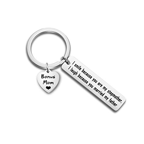 TGBJE Stepmom Gift I Smile Because You Are My Stepmother I Laugh Because You Married My Father Keychain Mother's Day Gift (Bonus Mom)