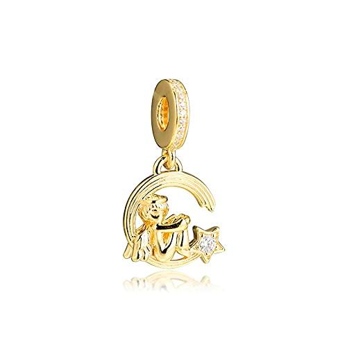 LISHOU Mujer Pandora S925 Plata De Ley Ángel Estrella Fugaz Cuelga La Cadena Clear Golden Shine Colgante Charms Bead Fashion Girl Pulsera Collares Fabricación De Joyas De Bricolaje