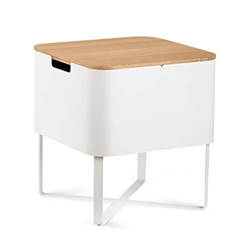 KAUTSCH Beistelltisch aus Massiv-Holz Eiche und Metall - Couchtisch weiß quadratisch mit Stauraum - abnehmbare Holz-Tischplatte- Nachttisch - Sofa Tisch klein