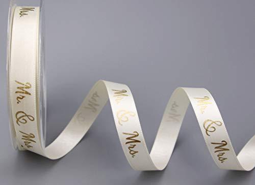 Dekoband Mr & Mrs Creme Gold 20 m x 15 mm (0,84€/m) Geschenkband Hochzeit Wedding Satinband für Hochzeitsgeschenk Hochzeitsalbum Schleifenband