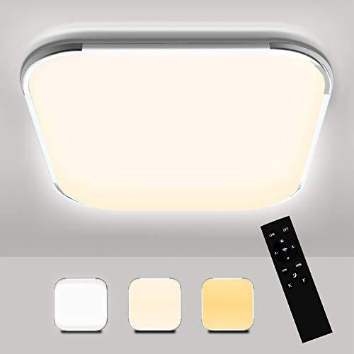 Hengda 18W LED Deckenleuchte Dimmbar, 1440LM Flimmerfrei LED Deckenlampe Dimmbar mit Fernbedienung, Farbtemperatur und Helligkeit Einstellbar, IP44 Badlampe für Wohnzimmer Schlafzimmer Kinderzimmer