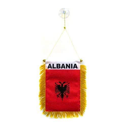 AZ FLAG Wimpel ALBANIEN 15x10cm - ALBANISCHE Mini Flagge 10 x 15 cm - Auto Pennant spezielle Auto