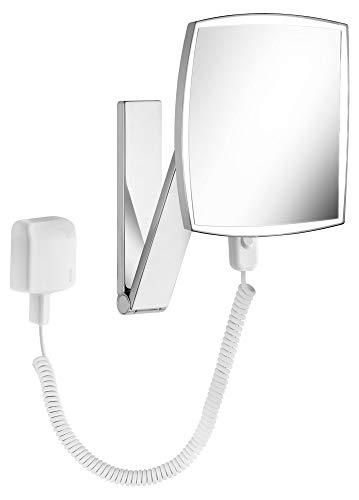 KEUCO Wand-Kosmetikspiegel mit Schwenkarm, LED-Beleuchtung, 5-facher Vergrößerung, Stecker-Transformator, 20x20cm, eckig, chrom, iLook_move