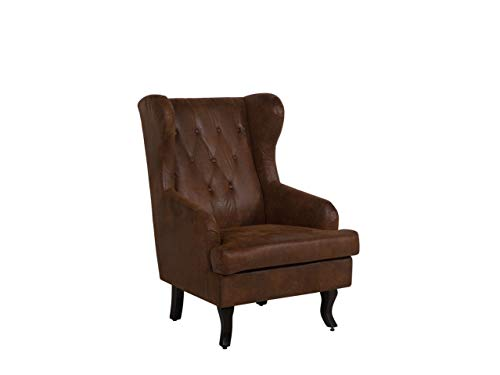 Beliani Retro Sessel im Chesterfield Style Kunstleder Ohrensessel braun Alta